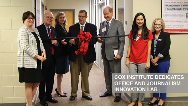 Cox Institute celebrates dedication of office and journalism innovation lab
