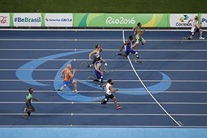 Jonnie Peacock of Great Britain,upper right,runs in the men's 100M T44 preliminaries at the 2016 Paralympic Games in Rio de Janeiro, Brazil, on Thursday, Sept. 8, 2016. Running a time of 10.81 seconds, Peacock set a new Paralympic record. (David A. Barnes/University of Georgia via AP)