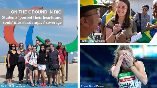 (left) Grady College students Jamie Han, Emily Greenwood, Emily Giambalvo, Jen Finch, David Barnes, Kendra Hansey, Joshua Jones, Casey Sykes and Kennington Smith pose in front to the Paralympic Games agitos at Copacabana Beach prior to the start of the 2016 Paralympic Games in Rio de Janeiro, Brazil, on Monday, Sept. 5, 2016. (Photo/Mark E. Johnson) (top right) Jenn Finch collects caption information outside of Maracana Stadium before the opening ceremony of the 2016 Paralympic Games in Rio de Janeiro, Brazil, on Wednesday, Sept. 7, 2016. (Photo/Mark E. Johnson) (bottom right) Anna Grimaldi of New Zealand reacts after realizing she won a gold medal in the women's long jump T47 finals at the 2016 Paralympic Games in Rio de Janeiro, Brazil, on Thursday, Sept. 8, 2016. (David A. Barnes/University of Georgia via AP)