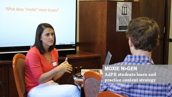 Whitney Lentz (ABJ '08) of Moxie leads a discussion with AdPR students.