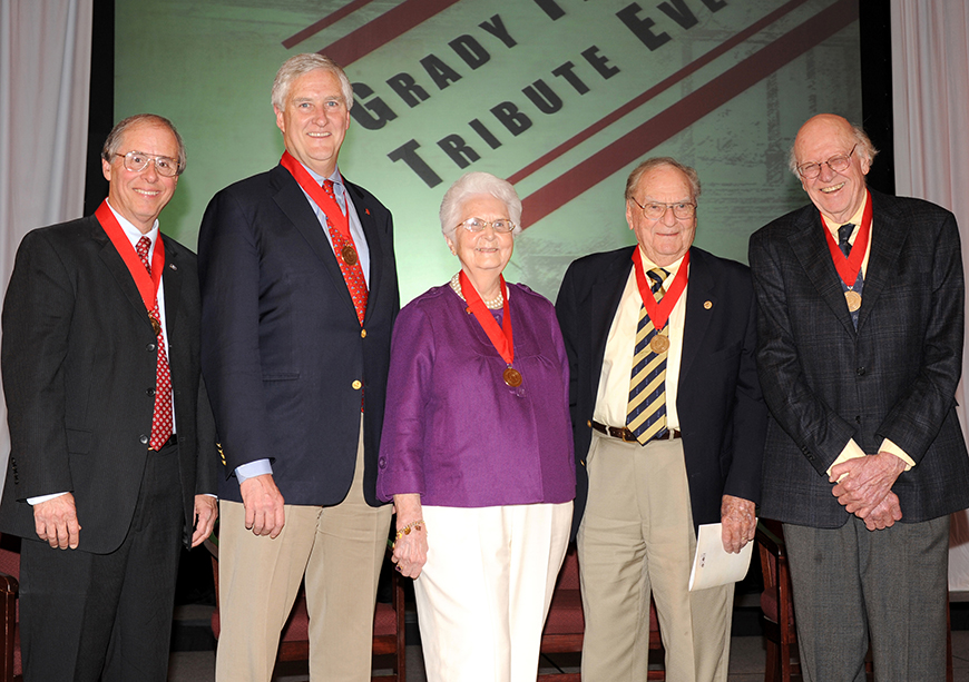 2009 Grady Fellows (l-r): Claude Felton, Gordon Smith, Ruth Estes Trager, Furman Bisher, and Ray Jenkins. Not pictured: Brenda Hampton. Photo by Wingate Downs (ABJ '79).