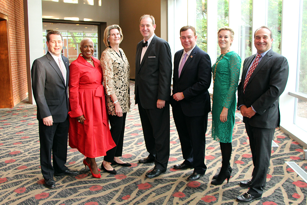 2016 Grady Fellows (l. to r.): Eddie Garrett, Monica Kaufman Pearson, Jan Jones, Brad MacAfee,Tony Barnhart, Hala Moddelmog and Jeff Gregor.