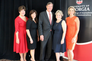 Kathleen Trocheck (ABJ '76), Suzy Deering, Philip Meeks (ABJ '76), Bonnie Arnold (ABJ '77) and Amy Robach (ABJ '95) [not pictured: Carla Sacks (ABJ '88)]
