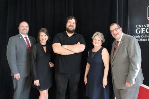 Bryan Harris (MA '03), chair of the Grady Society Alumni Board; Brooke Beach (ABJ '11); Jason Kreher (ABJ '00); Bonnie Arnold (ABJ '77); Dean Charles Davis