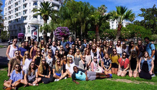 Students participating in the 2016 Cannes Lions Festival Study Abroad program arrive at the Palais des Festivals et des Congrès.