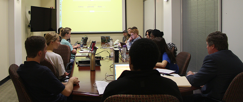 The Peabody Student Honor board participates in a class discussion evaluating potential submissions for the Peabody-Facebook Futures of Media Award.