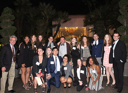 EMST Department Head Jay Hamilton (far left) and Grady LA students enjoyed networking with Grady and UGA alumni at the UGA in LA reception June 8, 2017.