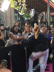 """Kenan interviewing Queen Latifah at """"Girls Trip"""" world premiere. Credit: Demour Breen"""