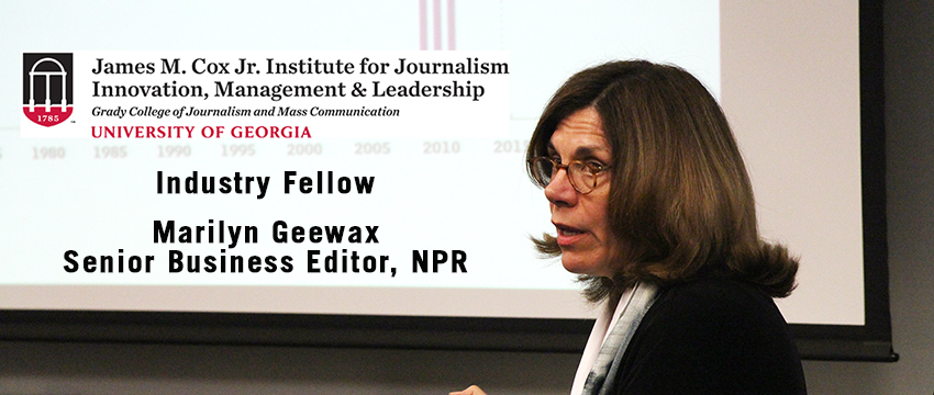 Marilyn Geewax of NPR returns to Grady College for six Industry Fellow lectures in Spring 2018. This photo is from a 2016 lecture at Grady.