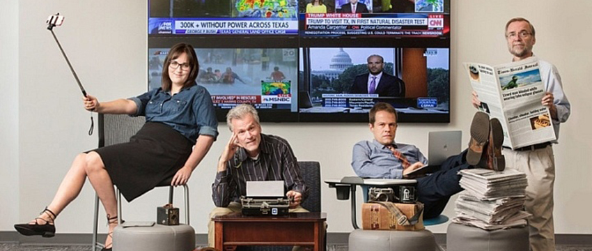 Recent Ph.d. graduate student Jessica Maddox and Grady College faculty members Jay Hamilton, Bart Wojdynski and Barry Hollander, study fake news with a critical eye. Photo: Terry Allen