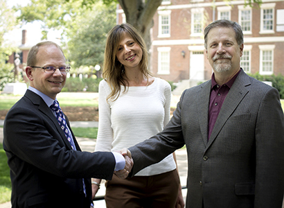 Stephen Balfour, director of the Office of Online Learning; Associate Dean Shari Miller, School of Social Work; and Associate Dean Jeff Springston, Grady College, celebrate the first Online Course Innovation Grants. Photo: Office of Online Learning.