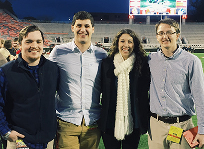Sarah Spencer covered UGA football for the Red & Black when she was a student. She is pictured with other Red & Black writers (l. to r.) Connor Riley (ABJ '16), Nick Suss (ABJ '15) and Cody Pace.