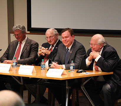 Barnhart (second from right), joined retired UGA Architect Danny Sniff, legendary football coach Vince Dooley, and retired football broadcaster Verne Lundquist to talk about the Heritage of Sport in April 2016.