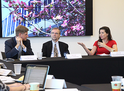 Barry Hollander was moderator of a panel included Greg Bluestein (ABJ '04) and Mary Katharine Ham (ABJ '06) during the 2016 McGill Symposium.
