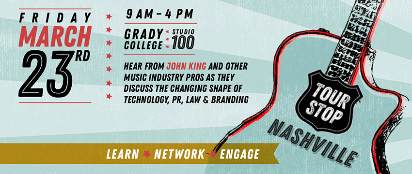 Several Grady College public relations students are working on the inaugural Tour Stop: Nashville event.