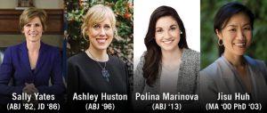 Sally Yates, Ashley Huston, Polina Marinova and Jisu Huh will be recognized as Alumni Award winners at Grady Salutes on April 27, 2018.