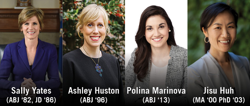 Sally Yates, Ashley Huston, Polina Marinova and Jisu Huh will be recognized as Alumni Award winners at Grady Salutes on April 27, 2018.