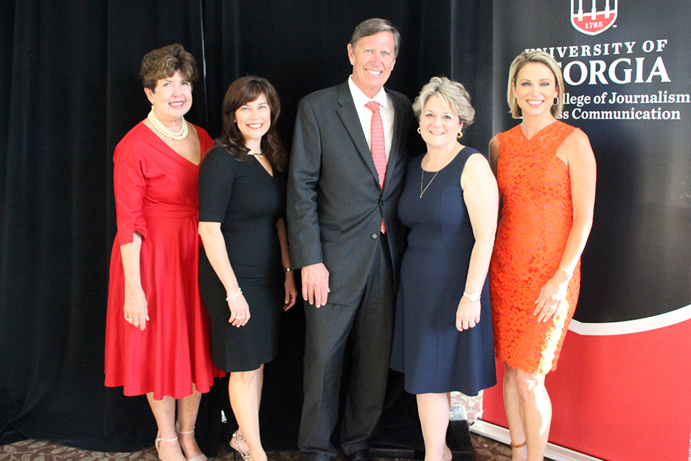 2017 Grady Fellows (l. to r.):Kathleen Trocheck (ABJ '76), Suzy Deering, Philip Meeks (ABJ '76), Bonnie Arnold (ABJ '77) and Amy Robach (ABJ '95)