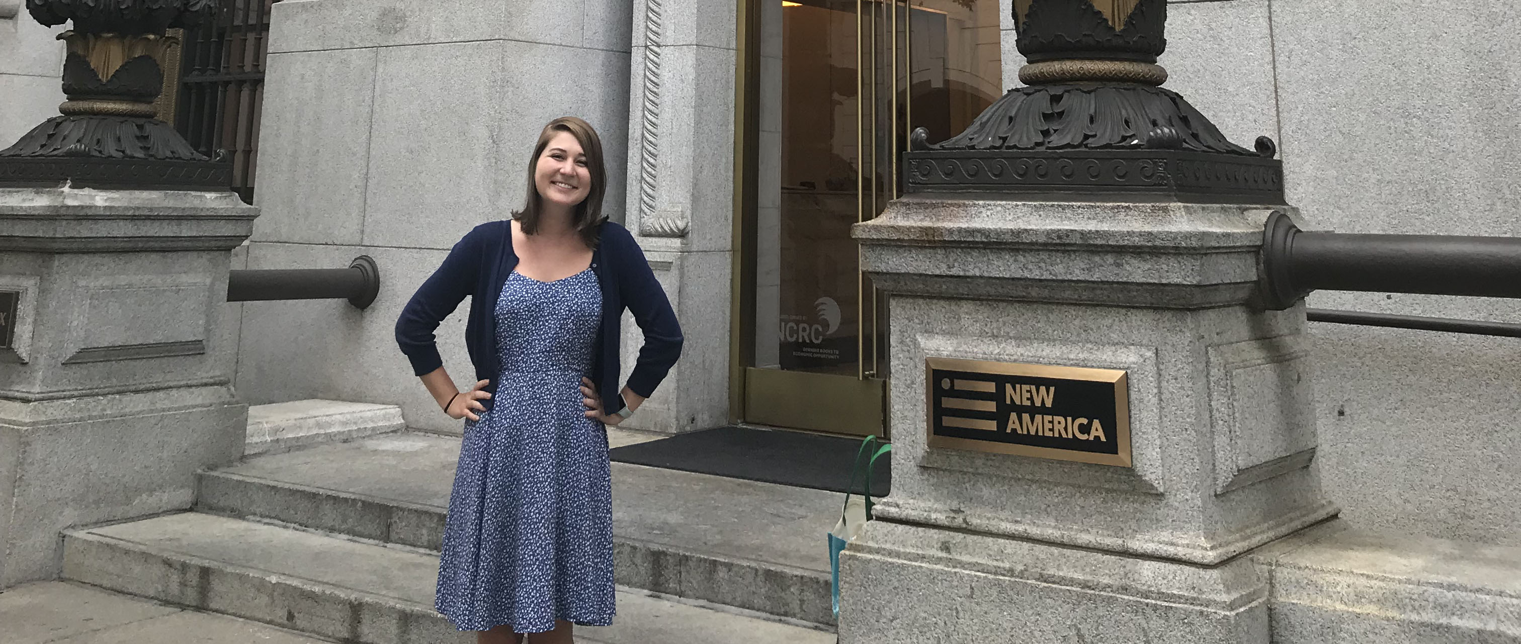 Lake, standing outside the New America's Open Technology Institute in Washington, D.C., says her career path is a moving target, but that her experiences this summer have provided her yet another option of what she might do following graduation.