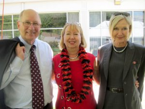 Retiring Grady Dean E. Culpepper 'Cully' Clark with Carolyn Caudell Tieger (center) and Dr. Parker Middleton.