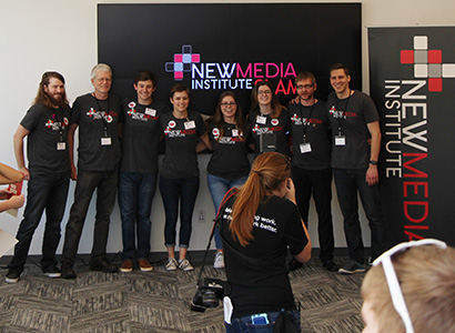 Students from the New Media Institute at Grady College presented their capstone projects and received their NMI certificates at #nmiSLAM May 7, 2016.