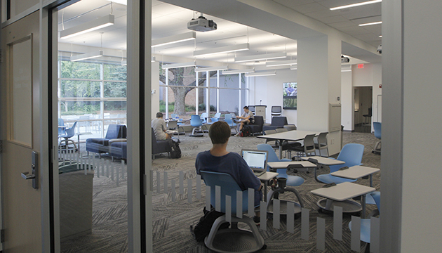 Students study in the Peyton Anderson Forum