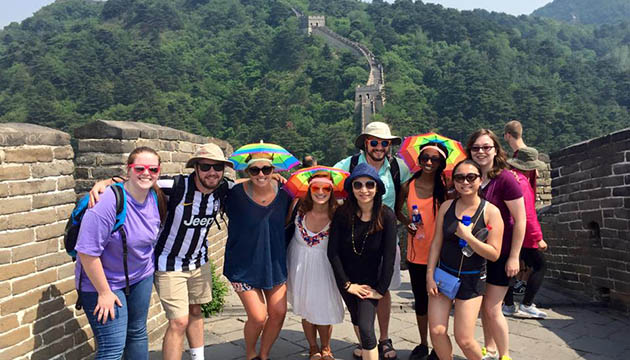 Students in the ADPR Choose China Study Abroad program take a trip to the Great Wall.