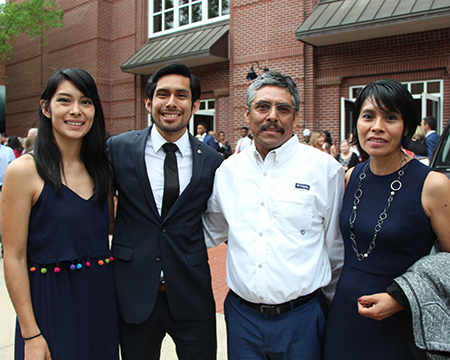 Orlando Pimentel and his family after Grady Convocation April 27, 2017.