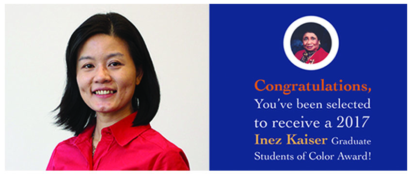 Yen-I Lee was recently selected as one of three recipients of the prestigious Inez Kaiser Graduate Student of Color Award.