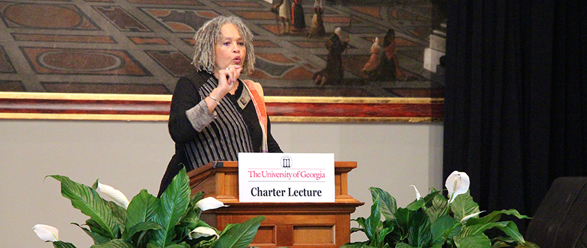 Charlayne Hunter-Gault (ABJ '63) will be the speaker at the Feb. 15 Holmes-Hunter lecture, a program named in her honor. She is pictured here delivering the Charter Lecture in March 2014.
