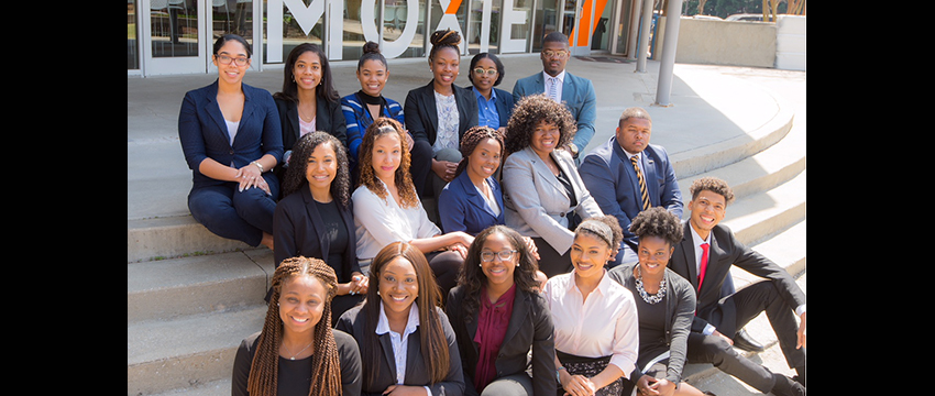 Destiny McClain (center, in middle row) and Jharell Ybarra (far right, bottom row) represented the University of Georgia at the second annual AdPR Academy.