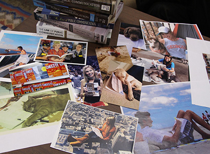 A sample of the many submissions to Lee's photo competition, challenging his students to take pictures of where they study the text.