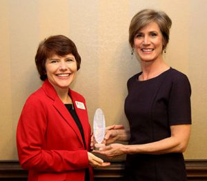 Diane Murray presented Sally Yates with her John Holliman Jr. Lifetime Achievement Award in March, when Yates was on campus.
