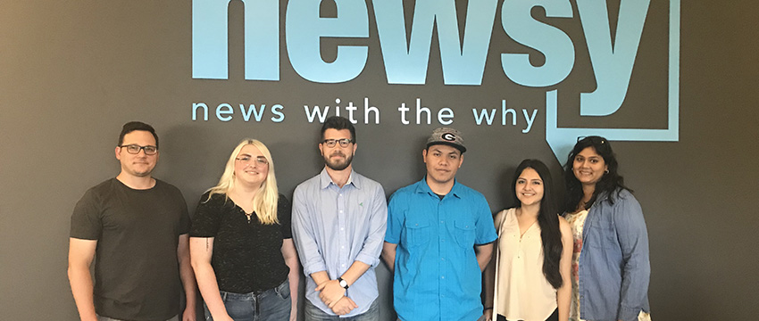 Photo (l-r): Nathan Byrne, supervising editor of academic partnerships at Newsy, advised Grady College students and recent alumni Maycee Dukes, Alec Larson (AB '18), Alex Marchante, Blanca Lopez-Olmedo and Mauli Desai.