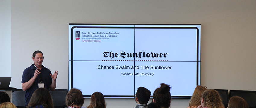 Chance Swaim discussed coverage during his tenure as editor-in-chief at The Sunflower.