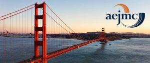 Landscape view of Golden Gate Bridge in San Francisco, with AEJMC logo