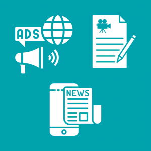 """Three white illustrated images are offset by a teal background. The first is of a megaphone and a globe with the word """"ADS."""" The second is a film script with a pencil. The third image is of a newspaper overlapped on a smart phone."""
