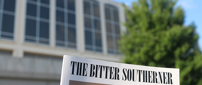 Bitter Southerner masthead with Grady building in background