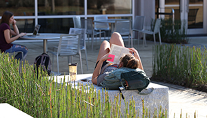Student reading in the Media Garden