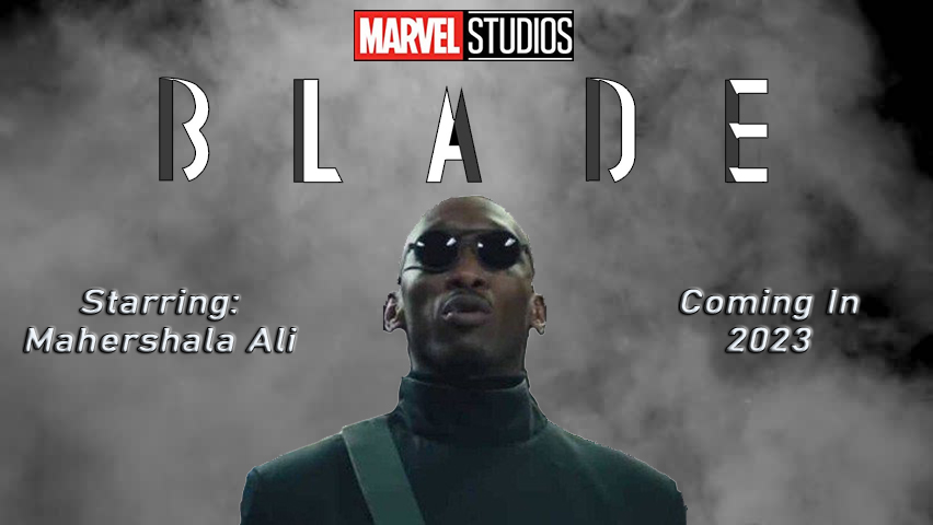 """A conceptual design for the upcoming movie Blade features a black and smokey background with the Marvel Studios red and black logo at the top. The title Blade is in an angular, silver font. The starring actor's name, Mahershala Ali, is listed in an outlined white font on the left. An image of the actor appears in the middle. The premiere date of """"Coming in 2023"""" is included in the white outlined font on the right side of the poster."""